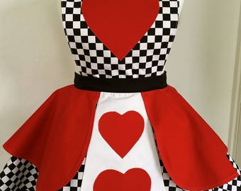 Queen of hearts inspired Adult Apron