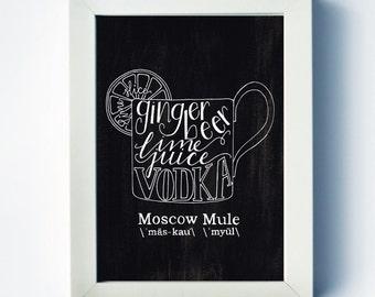 Moscow Mule | Recipe Print | Mixed Drink Art | Home Bar Art | Bar Cart | vodka | Two Pockets Art and Design