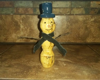 Sale!! Hand Carved Wood Snowman