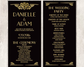 Great Gatsby Wedding Program / Art Deco, Roaring Twenties / Black and Gold / Schedule of Events ▷ Printable File {or} Printed & Shipped