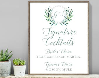 Greenery Signature Cocktail Sign / Bar Sign / Eucalyptus Crest / Initial Monogram Crest, Olive▷ Printable File {or} Printed & Shipped