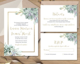 Succulent Wedding Invitation Set / Greenery and Gold Geometric / Green Cactus and Gold Calligraphy ▷Printed Wedding Invitations or Printable