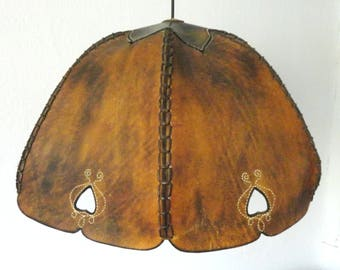 Brown Leather Pendant Light With Hearts