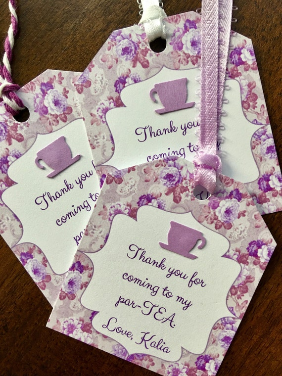 12 Tea Bag Shaped Party Thank You Favor Tags For Bridal Or