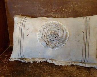 Feed Sack Pillow with Fabric Flower