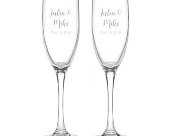Personalized Wedding Flutes,  2 Toasting Flutes, Engraved Wedding Flute,  Names and Date Toasting Flutes,  Bride & Groom Champagne Flutes