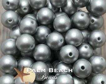 Twenty (20)pc Chunky 12mm Acrylic Faux Pearl Beads MATTE SILVER