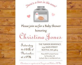 Bun in the Oven Baby Shower Invitation - Gender Neutral Baby Shower Invite - Printable, Custom, Digital File
