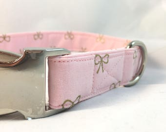 Pink with Gold Metallic Bows Wedding Dog Collar - Wedding Dog Collar - spring dog collar - dog collar for girls  - Modern Dog Collar