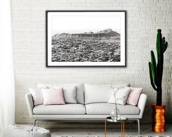 Black and White Landscape Photography, Diamond Head, Hawaii Photography, Large Black and White Print, Travel Photography, Tropical Decor