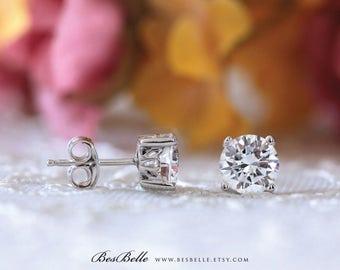 Art Deco Solitaire Stud Earrings-4.0mm~10.0mm Brilliant Cut Diamond Simulant-Art Deco Basket Setting-Bridal Earrings-Sterling Silver [5851]