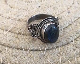 Vintage Labradorite Ring..Sterling Silver Ring...Handmade Vintage  ring...Ethnic...Hipster...Gypsy...Vintage Shop...
