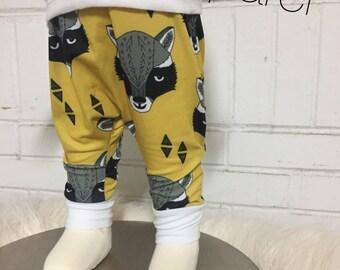 Raccoon leggings, baby harem pants,baby leggings, baby clothes, hipster baby pants mustard