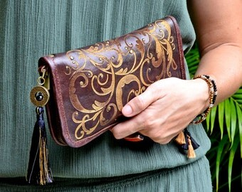 Leather Clutch, Brown Leather Clutch,Handmade leather purse,Leather Wristlet Purse,Clutch Purse,Chocolate brown Leather Clutch.Boho Clutch