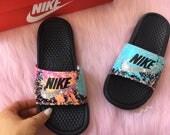 Swarovski Nike Benassi Print Slide Sandals customized with Swarovski Crystals Bling Nike