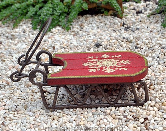 Snowflake Sled for Miniature Garden, Fairy Garden