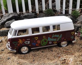 VW Disco Bus, Color Options: Brown for Miniature Garden, Fairy Garden