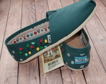 Christmas Light Hand Painted Women's Toms