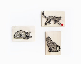 DIY kit Cats family - gift for cat lady - Cat sign -  Cat decor - DIY kit - Cat String art kit