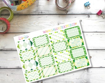 St. Patrick's Day Green and White March Write-On Half Box Stickers for Erin Condren Life Planner