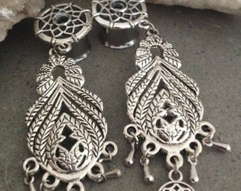 """Ear Plug Tunnel Dreamcatcher HandMade (surgical steel) with pendant couple 12mm 1/2"""""""