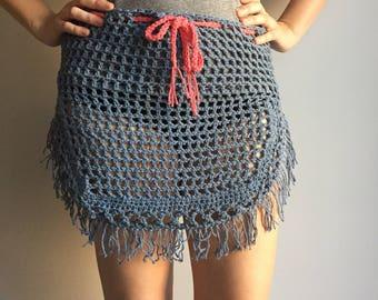 SALE ~ Crochet Women's Skirt - Women's Beach Cover Up - Swimwear - Women's Summer Wear - Gypsy - Hippy - Bikini Cover Up