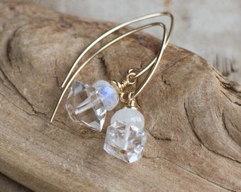 Herkimer Diamond and Moonstone Earrings in Silver or Gold, June&April Birthstone, Long Drop Earrings,  Herkimer Crystal Jewelry