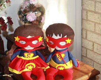 Super Hero Dolls - Boy or Girl - Custom Doll - Large - Soft Doll - Custom Cloth Doll - Can be customized Perfect Gift!