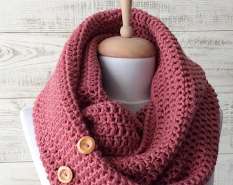 Knit button cowl, scarf, knit scarf, button knit scarf, women scarf / NEW COLORS & Fast Delivery