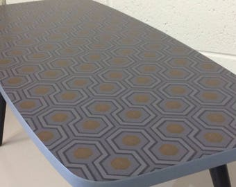 Stylish Retro Upcycled Mid-Century Coffee Upcycled  With Cole & Son Hicks Hexagon Wallpaper