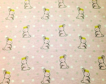 Custom Fitted Pack N Play Portable Crib Sheet OR Changing Pad Cover Flannel Pale Pink White Gray Dots Princess Bunnies