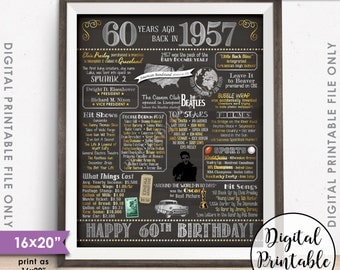 "60th Birthday Gift 1957 Poster, 16x20"" Chalkboard Style Instant Download Printable File, Flashback 60 Years Ago USA Born in 1957 60th B-day"