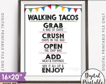 "Walking Tacos Sign, Taco Bar, Taco Sign, Fiesta Cinco de Mayo Sweet Sixteen Birthday Graduation Party 8x10/16x20"" Printable Instant Download"