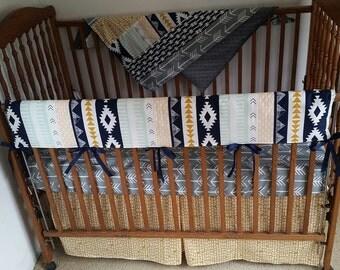 Azte, arrows,  baby bedding set, aztec rail cover, bumperless baby bedding, aztec 4 pieces baby bedding.