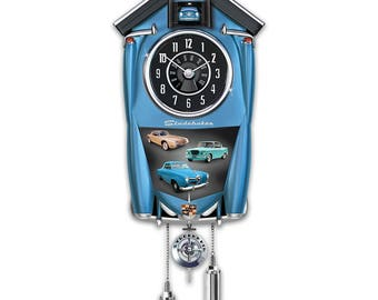 Studebaker Wall Cuckoo Clock Lights Up With Revving Sound by The Bradford Exchange