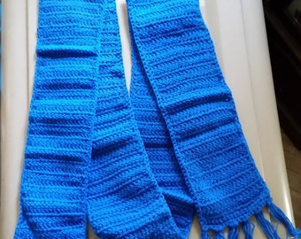 Adult's Crocheted Blue Hat and Scarf Set