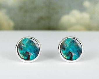 Blue Galaxy earrings · galaxy studs · silver space studs · gift for her · 12mm and 16mm earring · galaxy stud earrings · Galaxy Jewelry