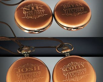 Groomsmen gift - 6 Rose gold pocket watches - 6 Vintage Rose gold personalized watches with box - Custom engraved gift - Wedding gift sets