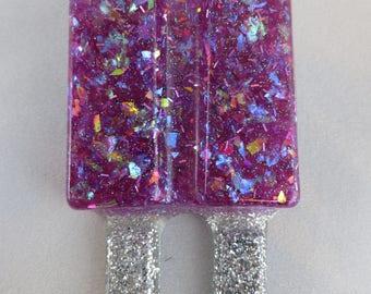 Grape Lucite Glitter Popsicle Pin