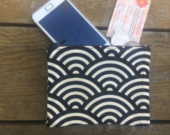 Handmade in Australian with Retro Black and Cream Swirl Coin purse , makeup bag , mobile holder , opal card holder , bag organisers.