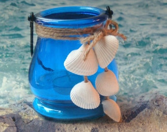 Seashell Candle Lantern – Sea Shells Home Decor - Coastal Decor Beach - Beachy Decor - Wedding Lanterns - Beach Wedding Decor - Beach Decor