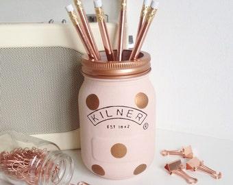 Pink and copper Kilner mason jar handpainted with polka dots - desk decor / vase