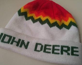 Vintage John Deere toque , winter hat , farming , tractors b chevron , green , red , yellow , 1980