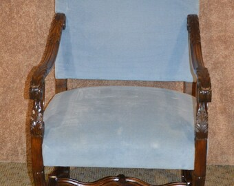 antique carved walnut french style accent chair w light blue velvet fabric - Light Blue Accent Chair