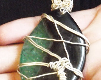 Silver Wire Wrapped Onyx Druzy Green and Black Marquee Shaped Pendant By Nickole Schmidt for WimsicalGlassography