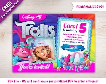 Personalized Trolls Birthday Party Invitation  | Poppy  | with Photo I DIGITAL DOWNLOAD - PDF File