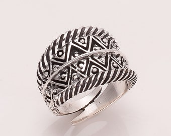 925 Solid Sterling Fine Silver zig zag  Ring