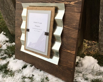 Wood Picture Frame with Burlap and Corrugated Metal, 5 x 7 Frame - Light gray