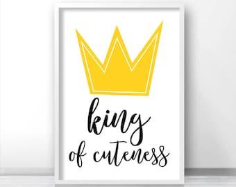 Crown Nursery Print, Boy Nursery Art, Instant Download Printable Nursery, Boy Nursery Decor, Boys Room Decor, Kids Print, Nursery Wall Art