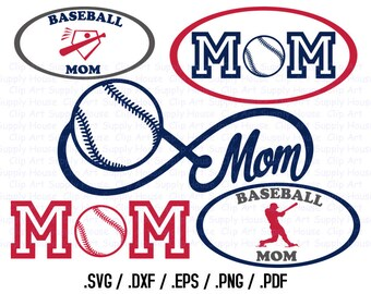 BaseBall Mom, Baseball Monogram, Base Ball Design Files, Use With Silhouette Software, DXF Files, SVG Font, EPS File, Silhouette - CA418